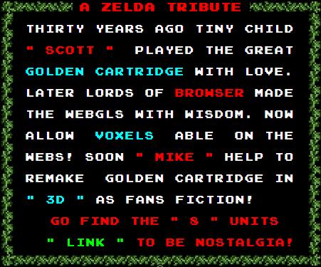 Credits zu 3D Voxel Zelda 30 Tribute